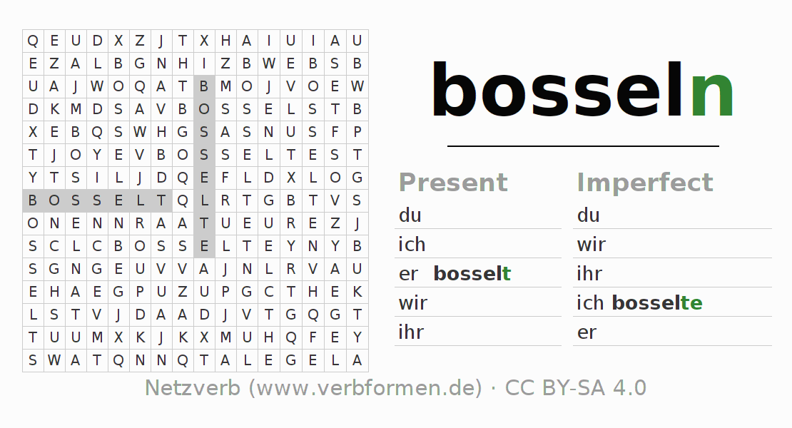 Word search puzzle for the conjugation of the verb bosseln