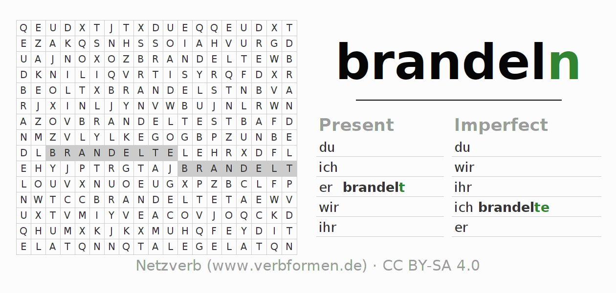 Word search puzzle for the conjugation of the verb brandeln