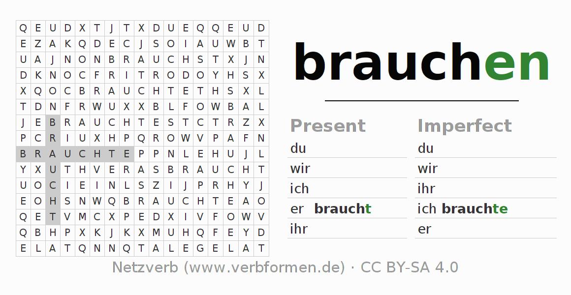 worksheets verb brauchen exercises for conjugation of german verbs netzverb. Black Bedroom Furniture Sets. Home Design Ideas