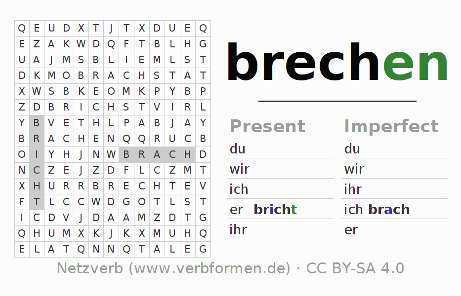 Word search puzzle for the conjugation of the verb brechen (hat)