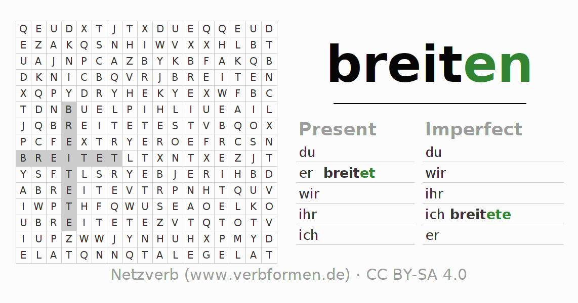 Word search puzzle for the conjugation of the verb breiten