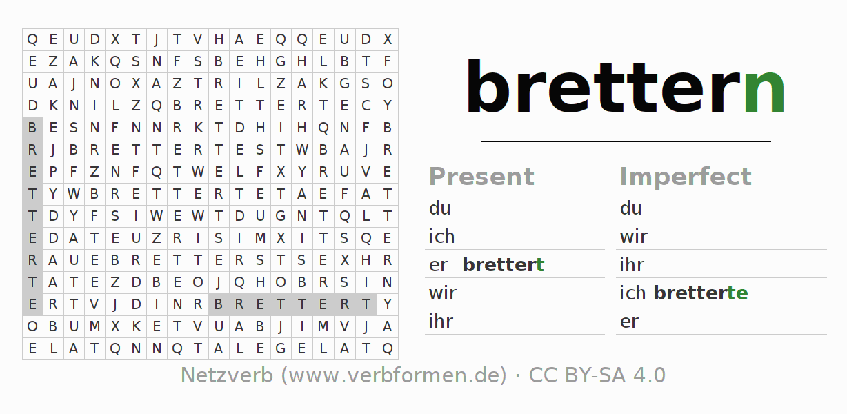 Word search puzzle for the conjugation of the verb brettern