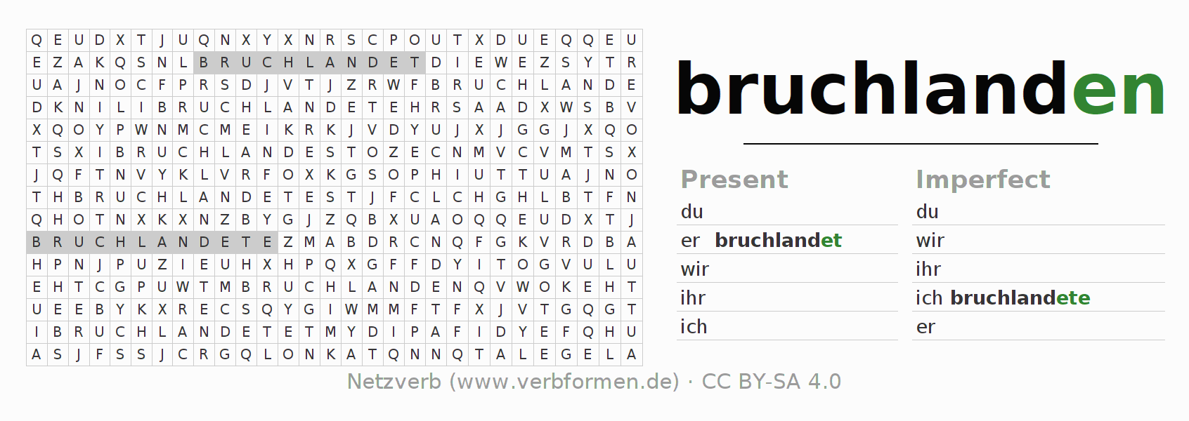 Word search puzzle for the conjugation of the verb bruchlanden