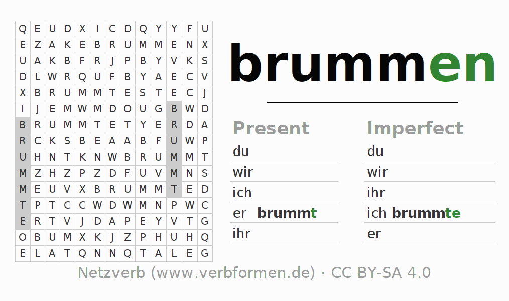 Word search puzzle for the conjugation of the verb brummen (hat)