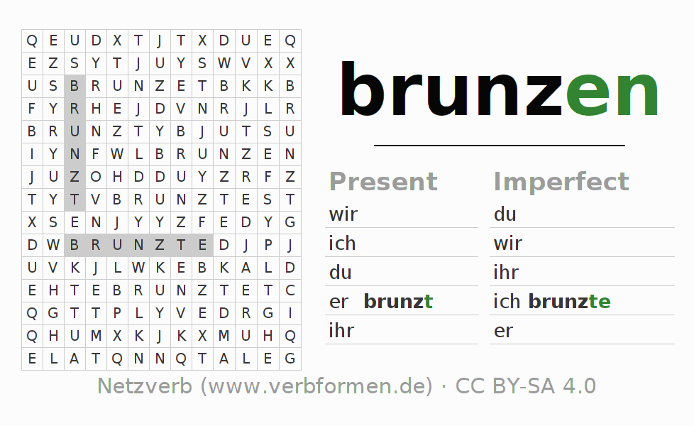 Word search puzzle for the conjugation of the verb brunzen