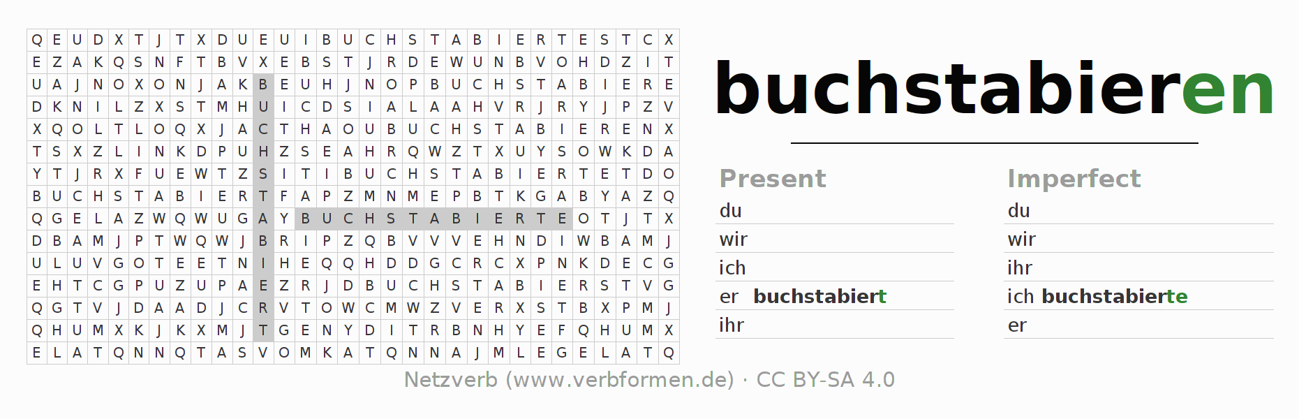 Word search puzzle for the conjugation of the verb buchstabieren