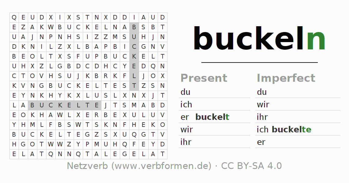 Word search puzzle for the conjugation of the verb buckeln