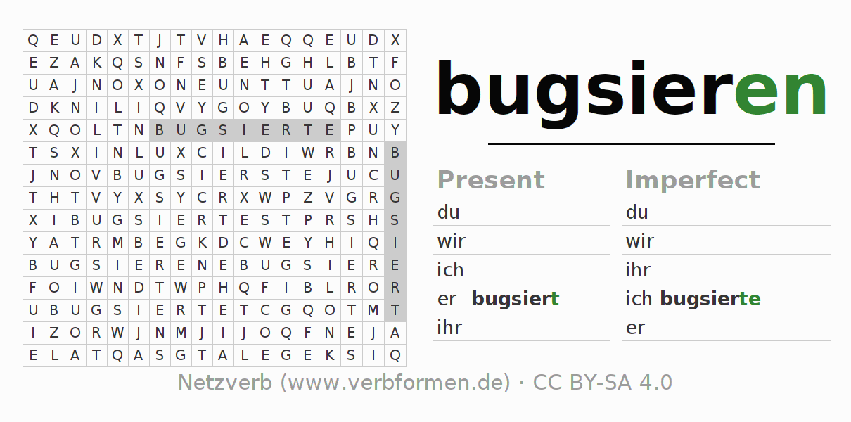 Word search puzzle for the conjugation of the verb bugsieren