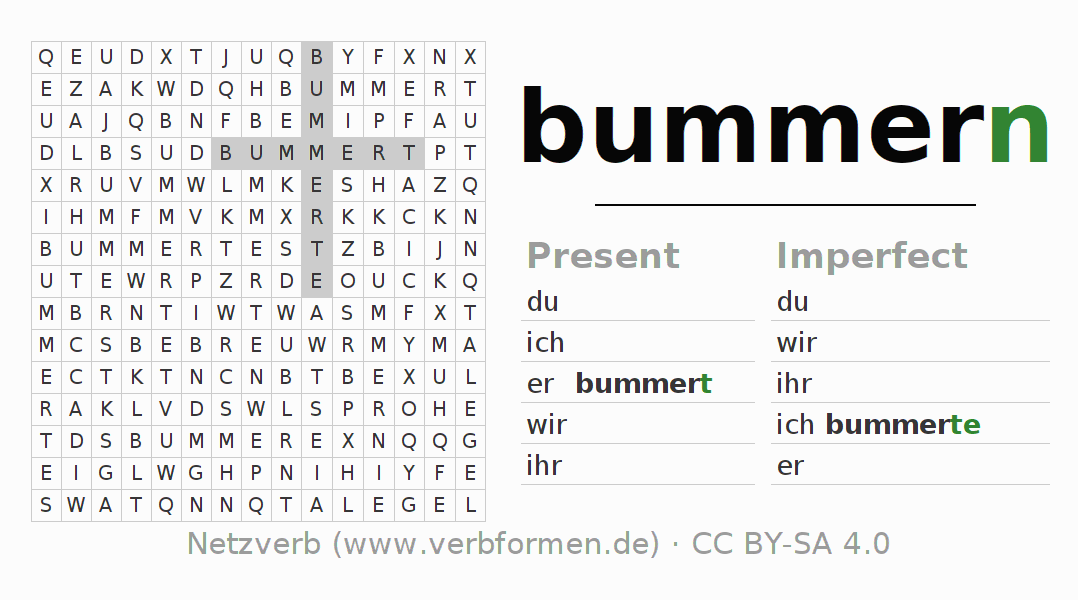 Word search puzzle for the conjugation of the verb bummern