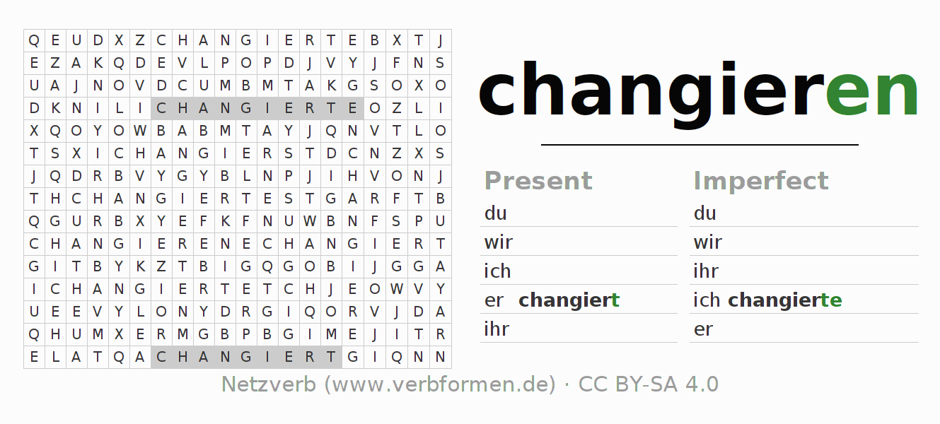 Word search puzzle for the conjugation of the verb changieren