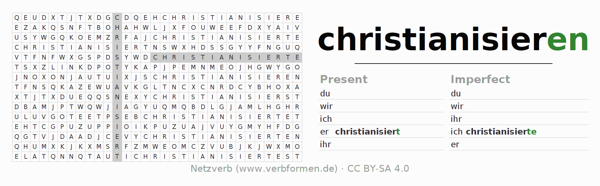 Word search puzzle for the conjugation of the verb christianisieren