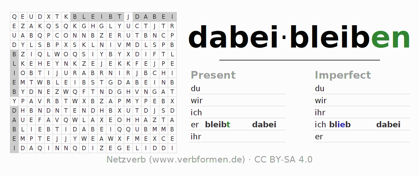Word search puzzle for the conjugation of the verb dabeibleiben