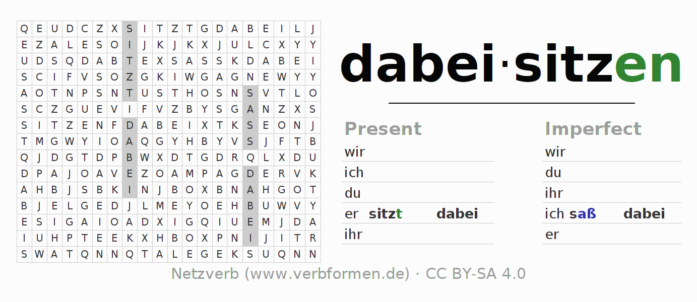 Word search puzzle for the conjugation of the verb dabeisitzen (hat)