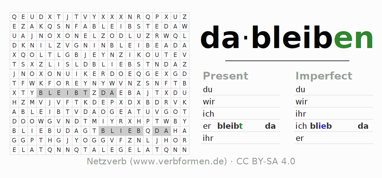 Word search puzzle for the conjugation of the verb dableiben