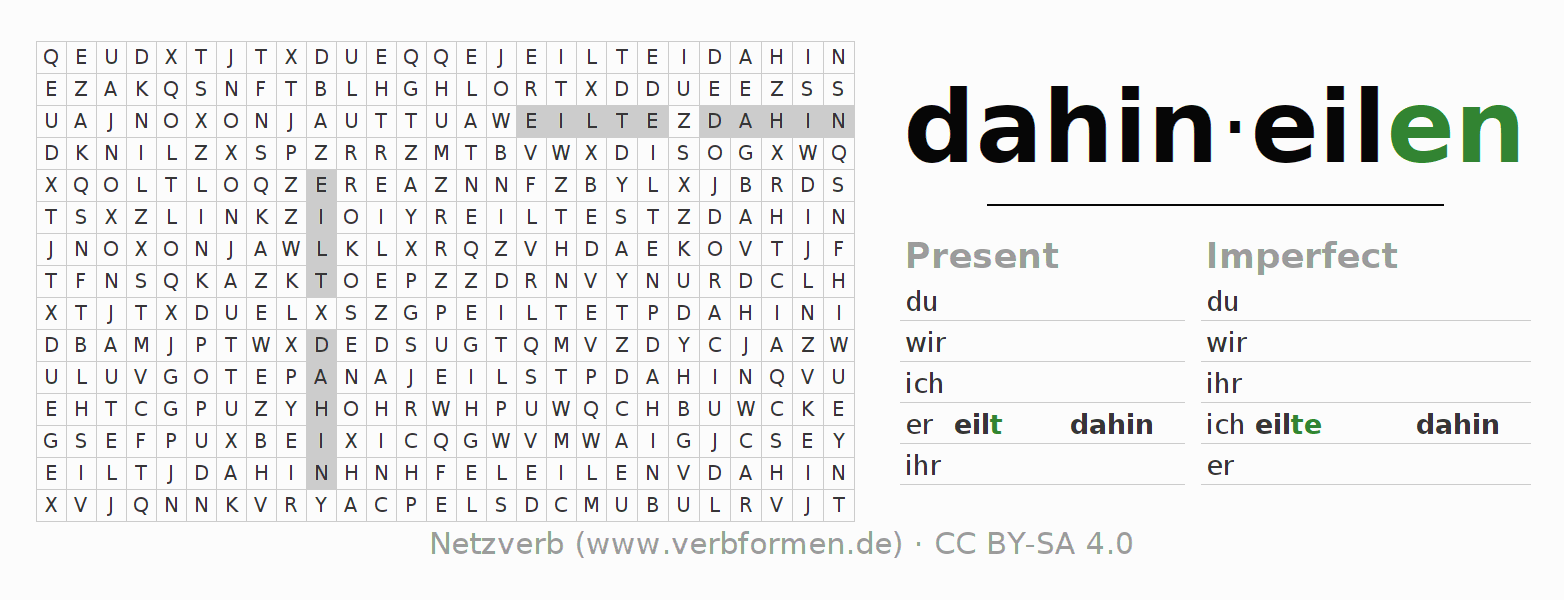 Word search puzzle for the conjugation of the verb dahineilen