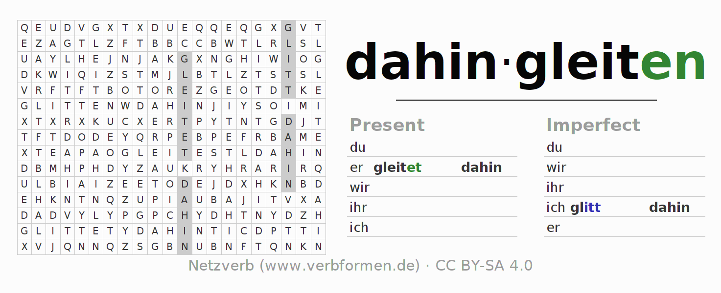 Word search puzzle for the conjugation of the verb dahingleiten