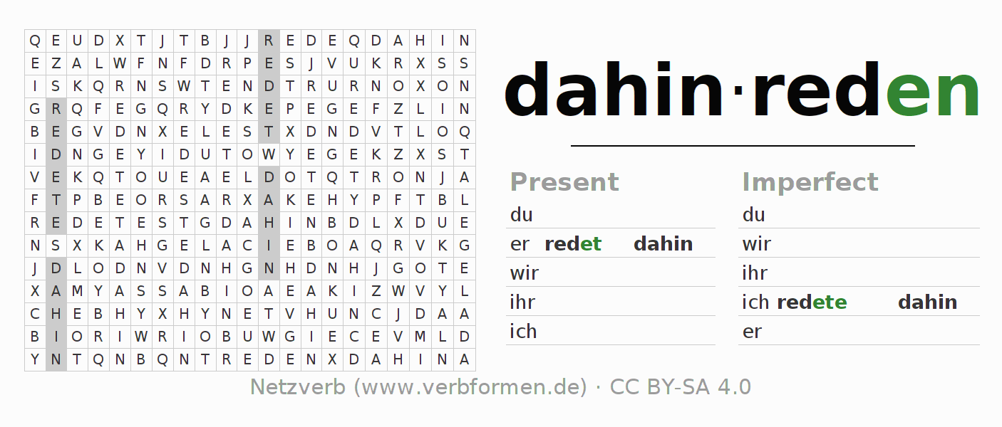 Word search puzzle for the conjugation of the verb dahinreden