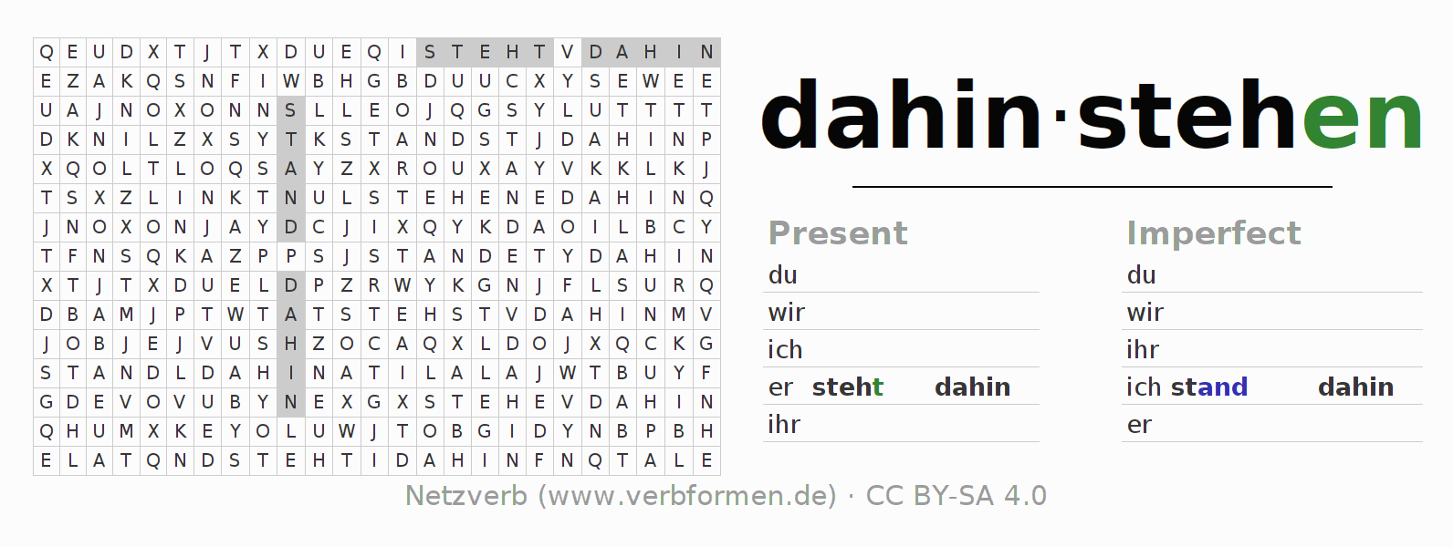 Word search puzzle for the conjugation of the verb dahinstehen (hat)