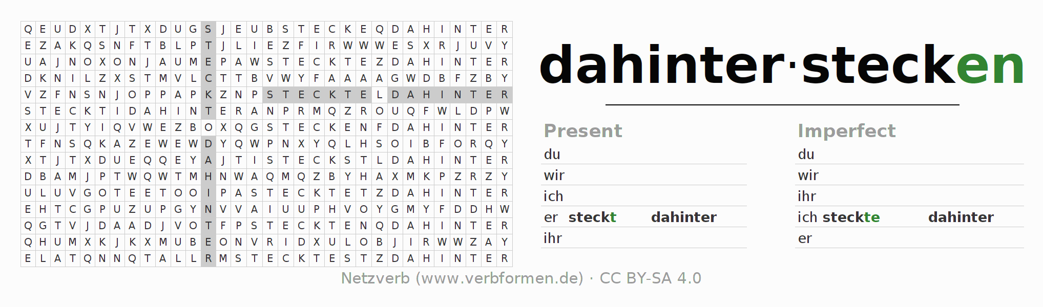 Word search puzzle for the conjugation of the verb dahinterstecken