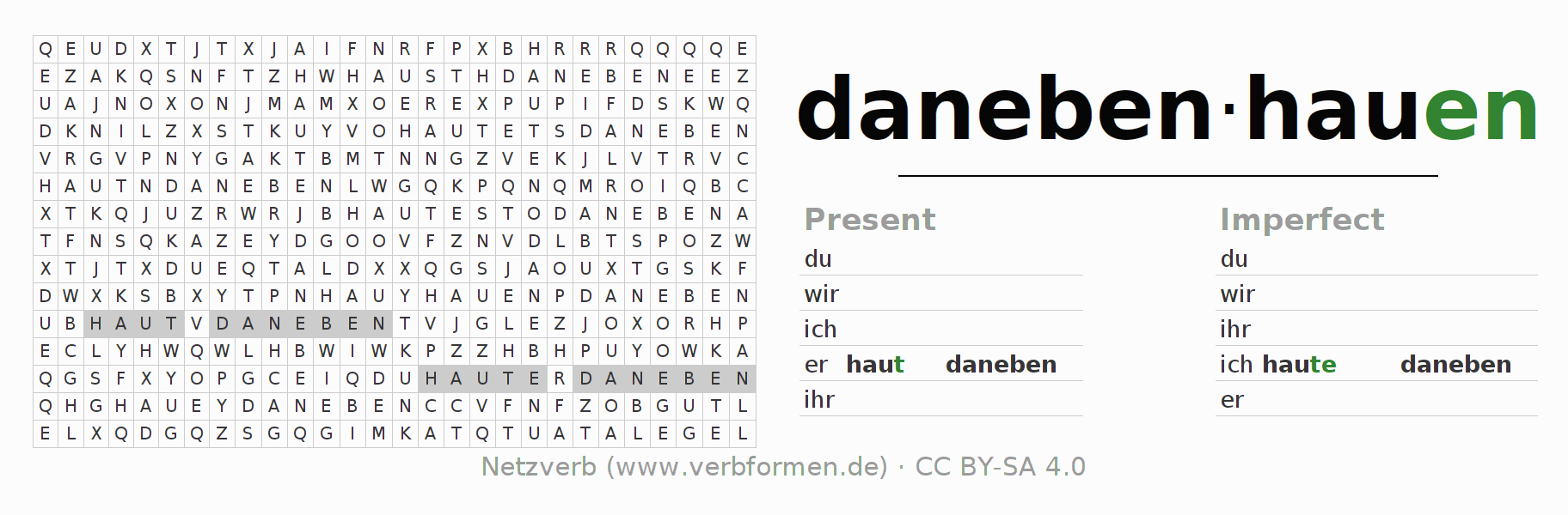Word search puzzle for the conjugation of the verb danebenhauen (regelm)