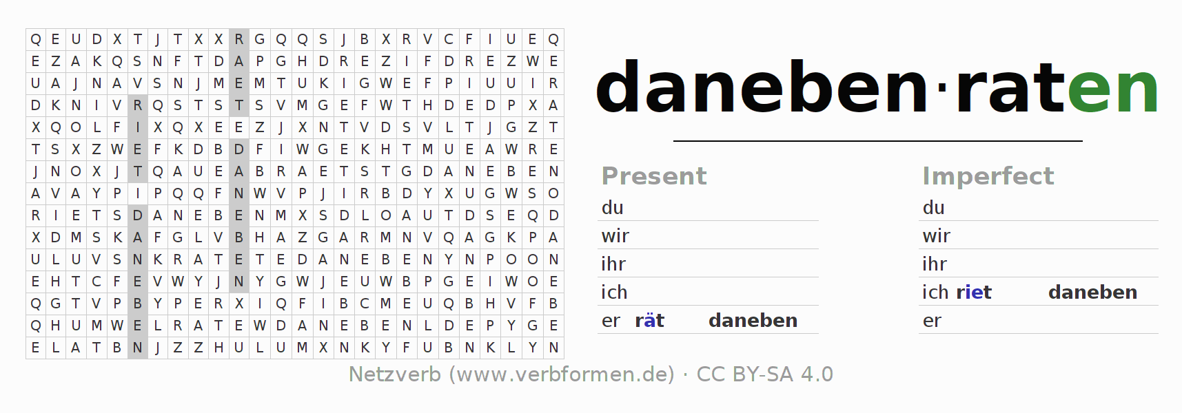 Word search puzzle for the conjugation of the verb danebenraten