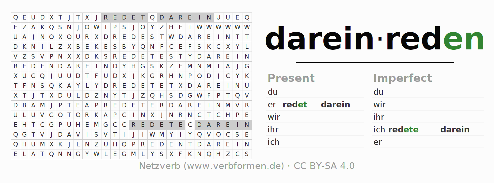 Word search puzzle for the conjugation of the verb dareinreden
