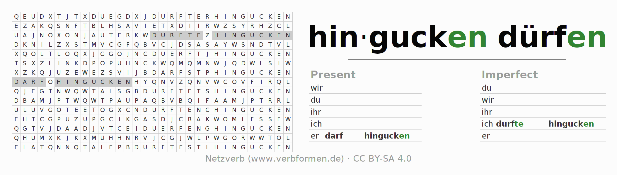 Word search puzzle for the conjugation of the verb darf hingucken