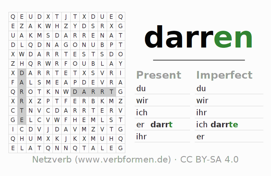 Word search puzzle for the conjugation of the verb darren