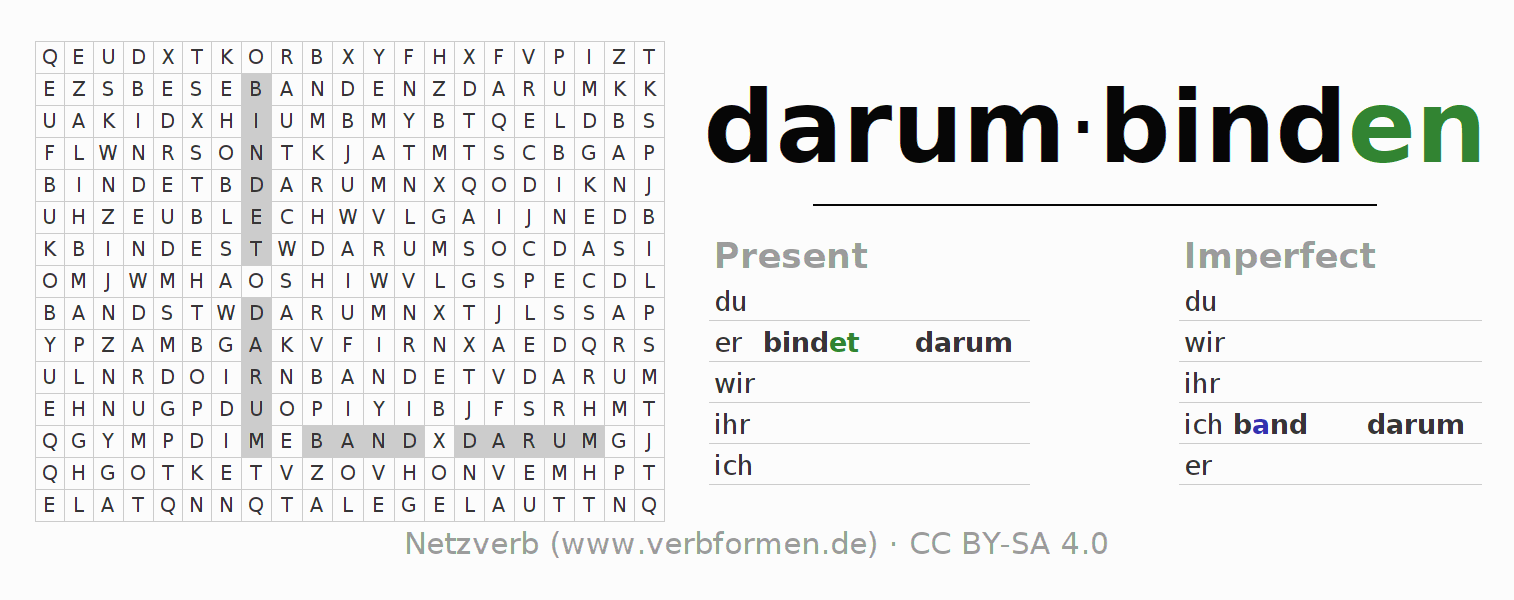 Word search puzzle for the conjugation of the verb darumbinden