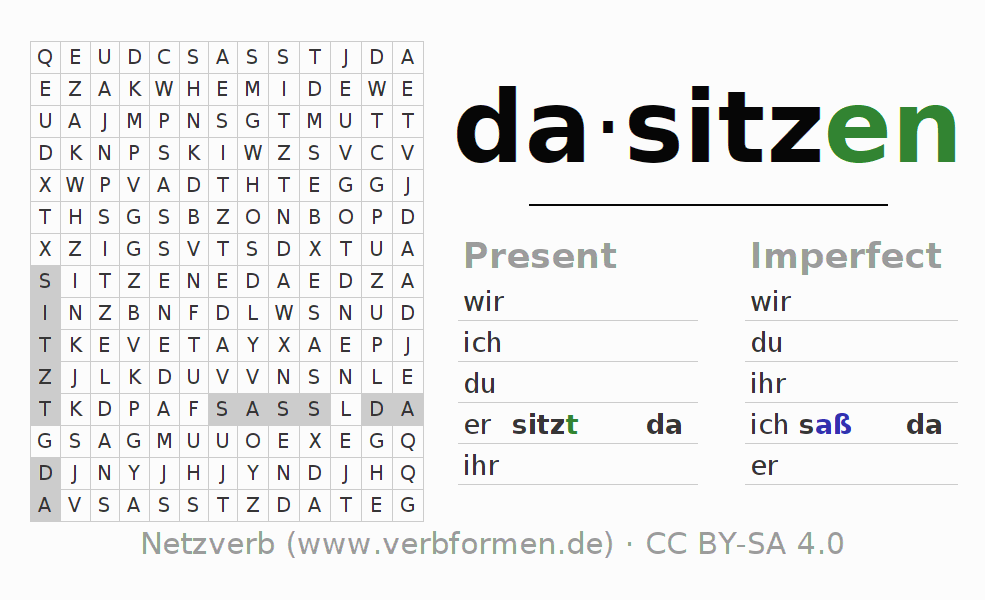 Word search puzzle for the conjugation of the verb dasitzen (hat)