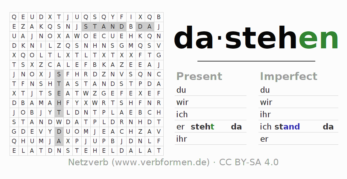 Word search puzzle for the conjugation of the verb dastehen (hat)