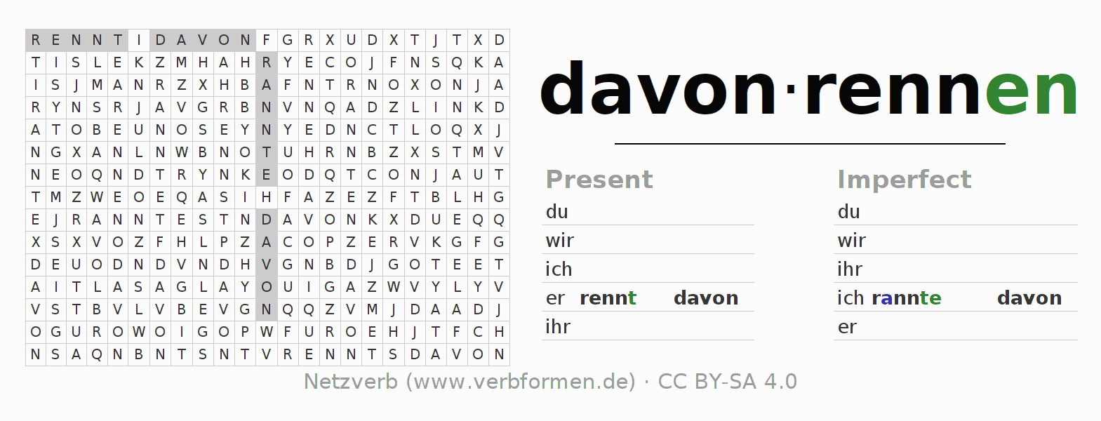 Word search puzzle for the conjugation of the verb davonrennen