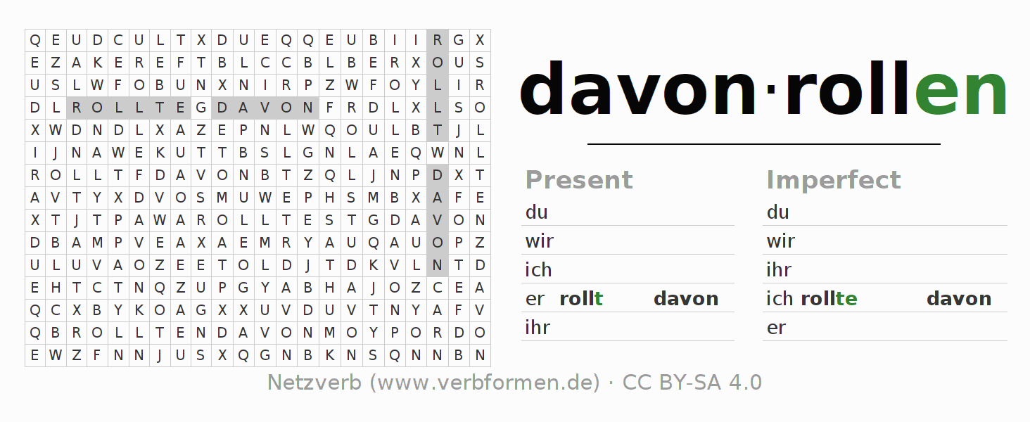 Word search puzzle for the conjugation of the verb davonrollen
