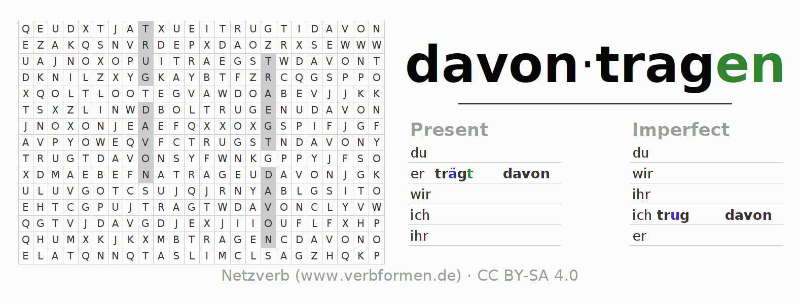 Word search puzzle for the conjugation of the verb davontragen