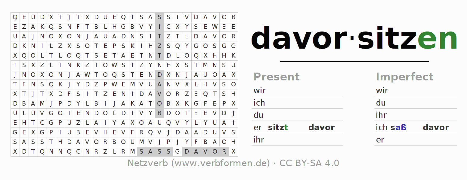 Word search puzzle for the conjugation of the verb davorsitzen (hat)