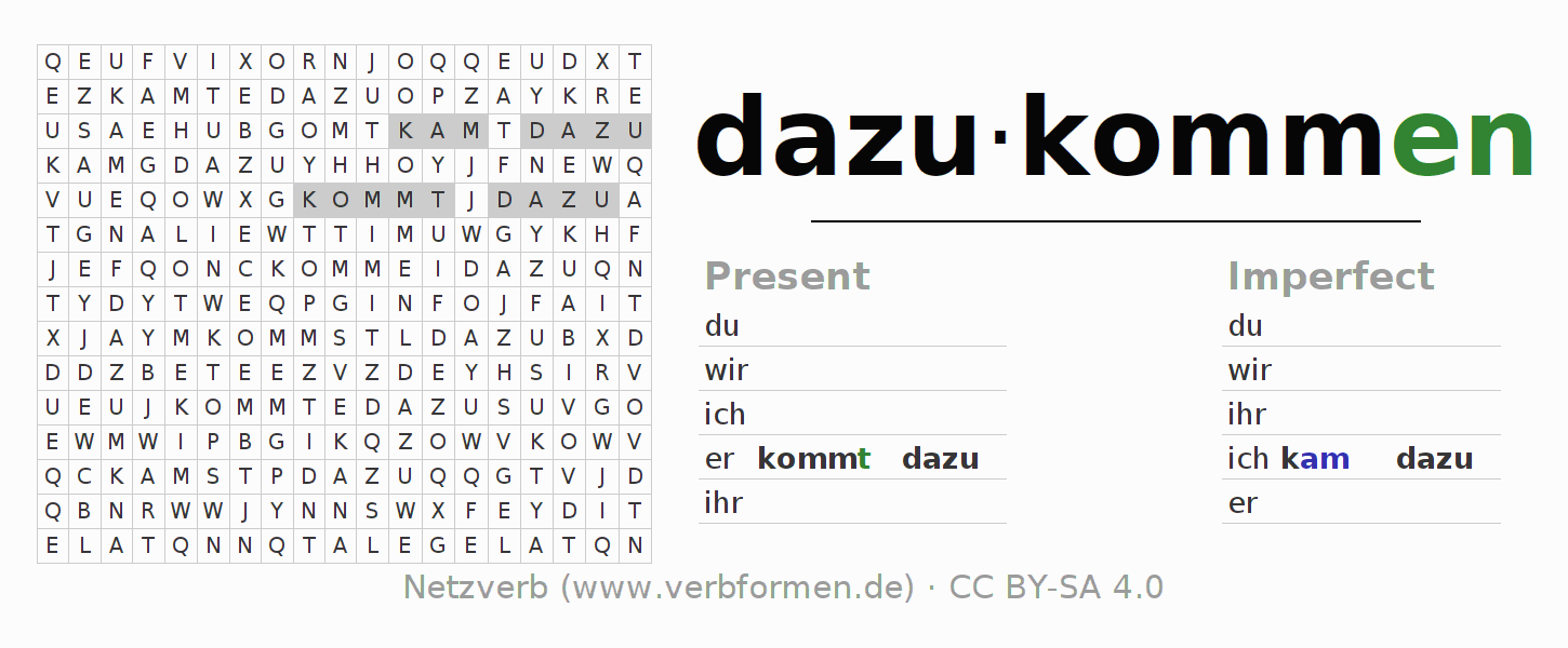 Word search puzzle for the conjugation of the verb dazukommen