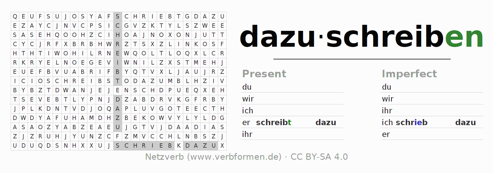 Word search puzzle for the conjugation of the verb dazuschreiben