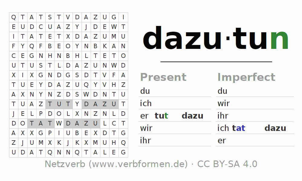 Word search puzzle for the conjugation of the verb dazutun