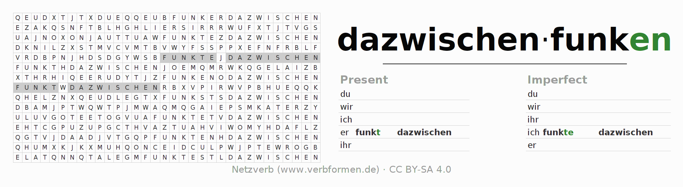 Word search puzzle for the conjugation of the verb dazwischenfunken