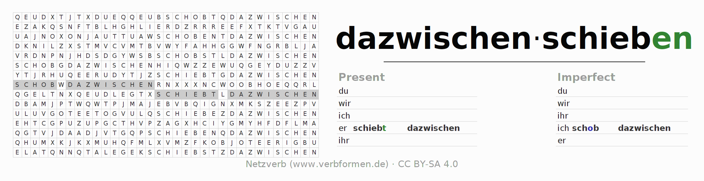 Word search puzzle for the conjugation of the verb dazwischenschieben