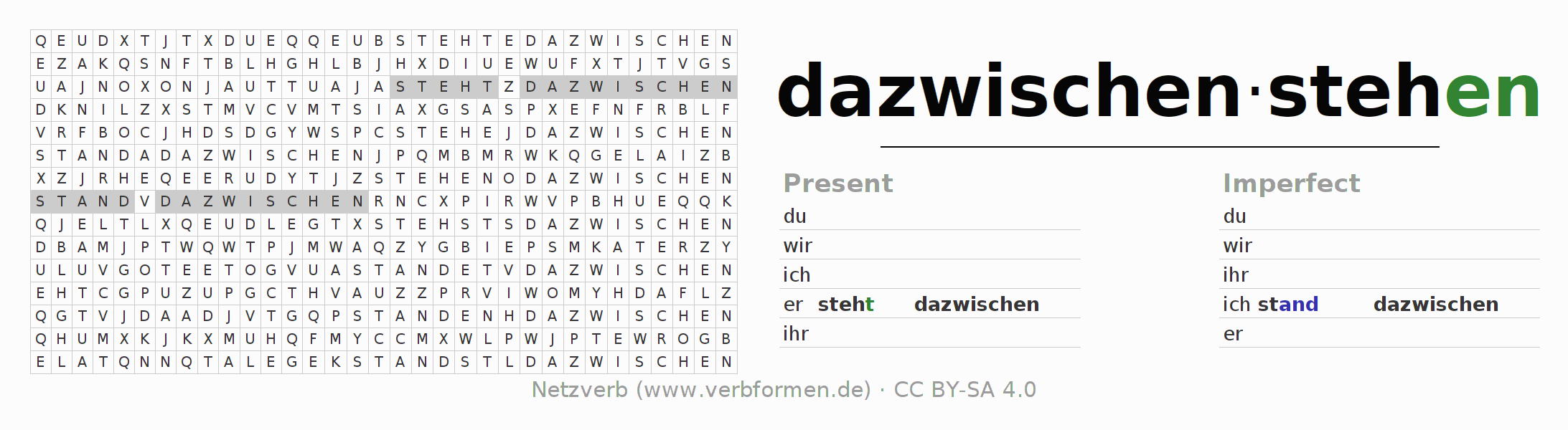 Word search puzzle for the conjugation of the verb dazwischenstehen (hat)