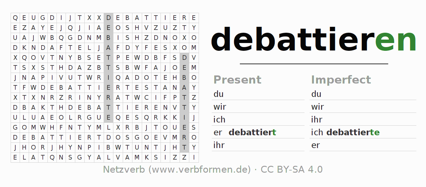 Word search puzzle for the conjugation of the verb debattieren