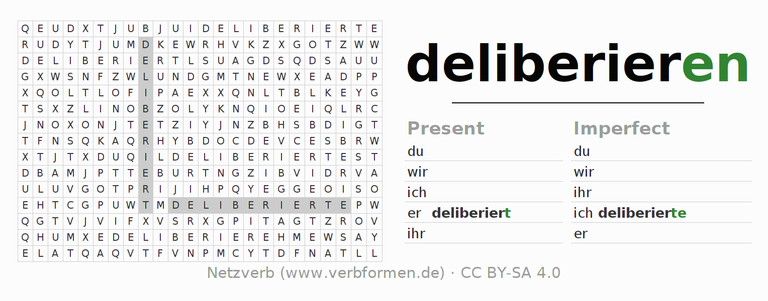 Word search puzzle for the conjugation of the verb deliberieren
