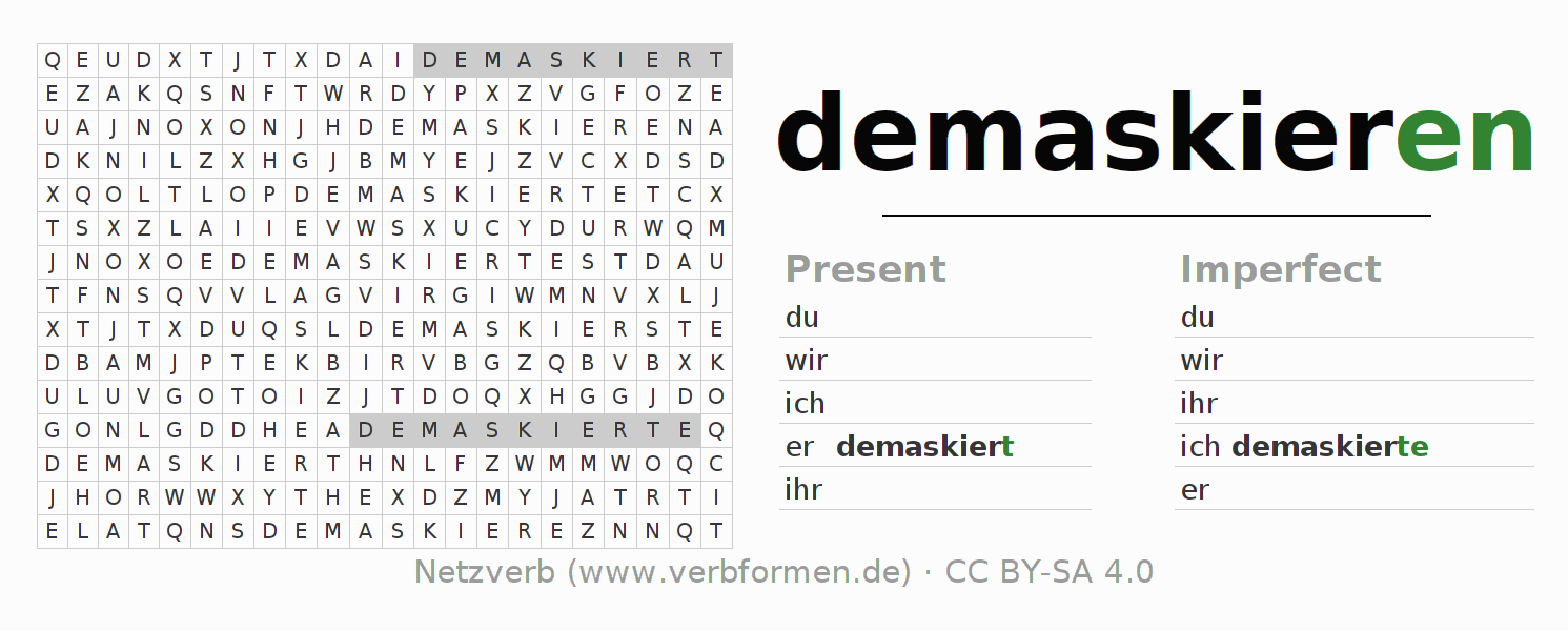 Word search puzzle for the conjugation of the verb demaskieren