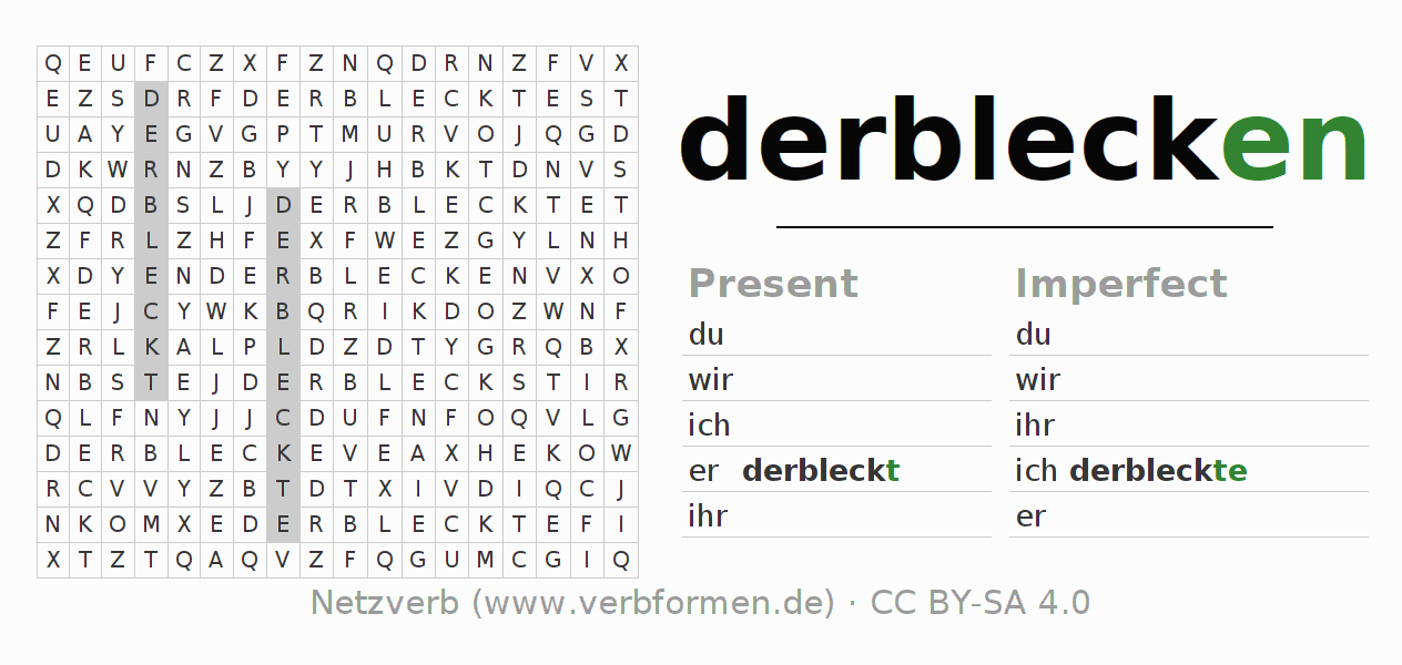 Word search puzzle for the conjugation of the verb derblecken