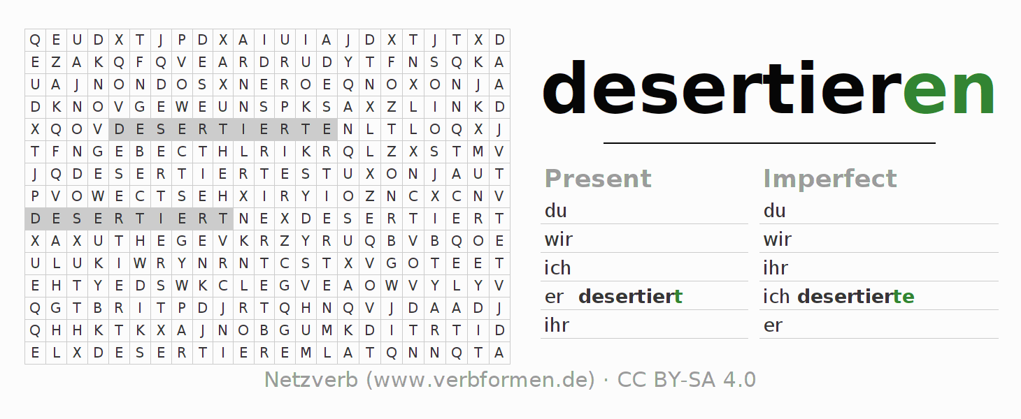 Word search puzzle for the conjugation of the verb desertieren (ist)