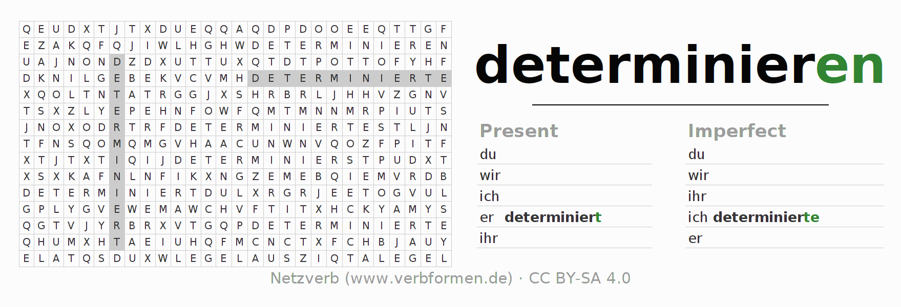 Word search puzzle for the conjugation of the verb determinieren