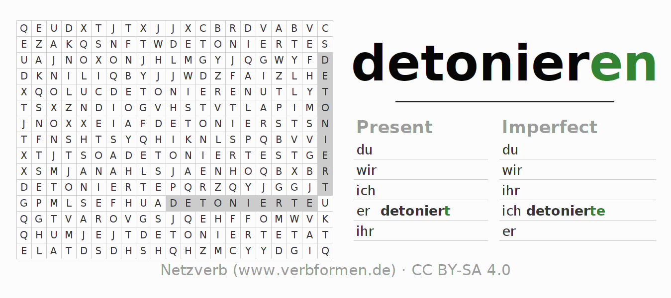 Word search puzzle for the conjugation of the verb detonieren