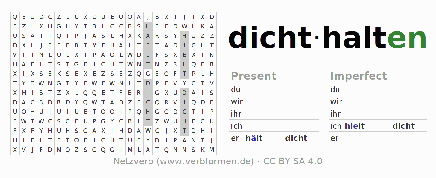 Word search puzzle for the conjugation of the verb dichthalten