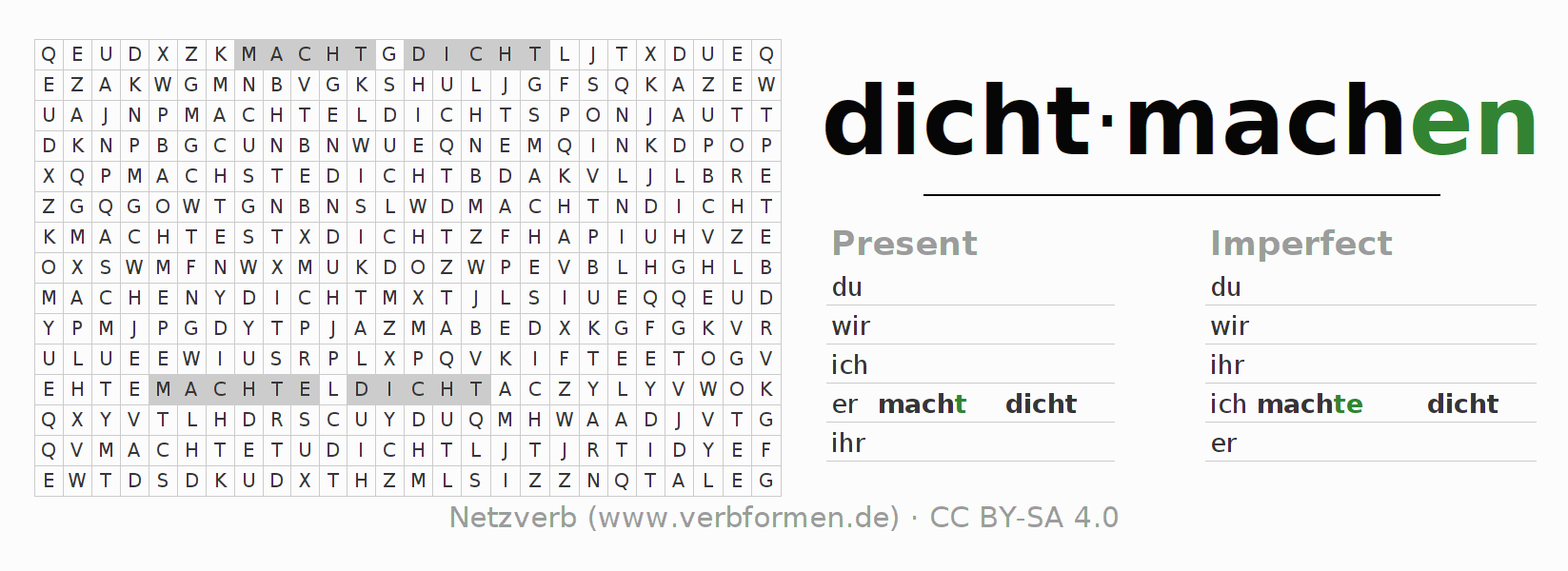 Word search puzzle for the conjugation of the verb dichtmachen